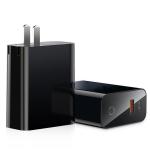 Baseus 45W Speed PPS Smart Shutdown & Digital Display USB + USB-C / Type-C Output Quick Charger, CN Plug(Black)