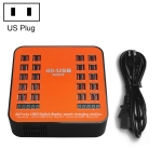 WLX-840 200W 40 Ports USB Digital Display Smart Charging Station AC100-240V, US Plug (Black+Orange)