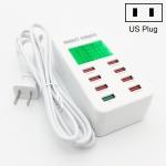 A8 40W 8 Ports USB + QC3.0 Smart Charging Station with Digital Display AC100-240V, US Plug
