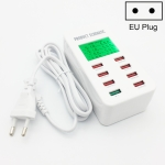 A8 40W 8 Ports USB + QC3.0 Smart Charging Station with Digital Display AC100-240V, EU Plug