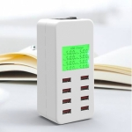 A8B 40W 8 Ports USB Smart Charging Station with Digital Display AC100-240V (White)