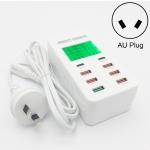 A8T 40W 8 Ports USB + QC3.0 + USB-C / Type-C Smart Charging Station with Digital Display AC100-240V, AU Plug