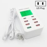 A8T 40W 8 Ports USB + QC3.0 + USB-C / Type-C Smart Charging Station with Digital Display AC100-240V, US Plug
