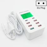 A8T 40W 8 Ports USB + QC3.0 + USB-C / Type-C Smart Charging Station with Digital Display AC100-240V, EU Plug