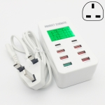 A8T 40W 8 Ports USB + QC3.0 + USB-C / Type-C Smart Charging Station with Digital Display AC100-240V, UK Plug