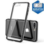 Electroplated Frame Toughened Glass Case for iPhone 8 Plus / 7 Plus (Black)
