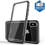 Electroplated Frame Toughened Glass Case for iPhone X (Black)