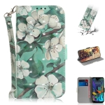 3D Painting Watercolor Flower Pattern Coloured Drawing Horizontal Flip Leather Case for LG K50, with Holder & Card Slots & Wallet