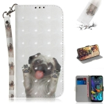 3D Painting Pug Pattern Coloured Drawing Horizontal Flip Leather Case for LG K50, with Holder & Card Slots & Wallet