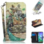 3D Painting Zoo Pattern Coloured Drawing Horizontal Flip Leather Case for LG Q60, with Holder & Card Slots & Wallet