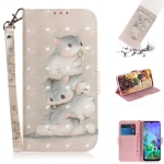 3D Painting Three Squirrels Pattern Coloured Drawing Horizontal Flip Leather Case for LG Q60, with Holder & Card Slots & Wallet