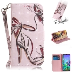 3D Painting Butterfly High Heels Pattern Coloured Drawing Horizontal Flip Leather Case for LG Q60, with Holder & Card Slots & Wallet