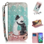 3D Painting Black White Cat Pattern Coloured Drawing Horizontal Flip Leather Case for LG Q60, with Holder & Card Slots & Wallet