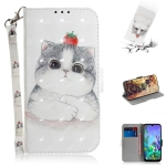 3D Painting Cute Cat Pattern Coloured Drawing Horizontal Flip Leather Case for LG Q60, with Holder & Card Slots & Wallet
