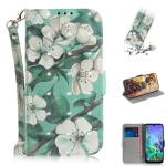 3D Painting Watercolor Flower Pattern Coloured Drawing Horizontal Flip Leather Case for LG Q60, with Holder & Card Slots & Wallet