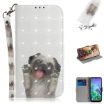 3D Painting Pug Pattern Coloured Drawing Horizontal Flip Leather Case for LG Q60, with Holder & Card Slots & Wallet