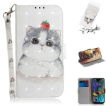 3D Painting Cute Cat Pattern Coloured Drawing Horizontal Flip Leather Case for LG K50, with Holder & Card Slots & Wallet