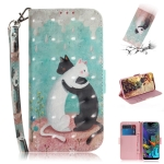 3D Painting Black White Cat Pattern Coloured Drawing Horizontal Flip Leather Case for LG K50, with Holder & Card Slots & Wallet