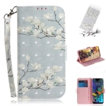 3D Painting Mognolia Pattern Coloured Drawing Horizontal Flip Leather Case for LG K50, with Holder & Card Slots & Wallet
