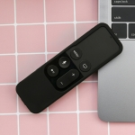 5F01 Somatosensory Remote Control Anti-fall Silicone Protective Cover for Apple TV 4, with Lanyard (Black)