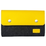 ROCK Shockproof Wool Felt Protective Storage Shell Bag Soft Sleeve, Size: 18×11.5x5cm (Black Yellow)