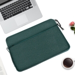 Diamond Pattern Portable Waterproof Sleeve Case Double Zipper Briefcase Laptop Carrying Bag for 15-15.4 inch Laptops (Green)