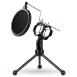 Yanmai PS-3 Mini Portable Microphone Anti-network Shockproof Desktop Stand(Black)