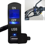CS-838B 12V 2A Motorcycle Waterproof Mobile Phone USB Charger with Indicator Light Switch(Blue)