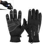 Outdoor Winter Sports Velvet Windproof Warm All-finger Zipper Touch Screen Gloves, Size: L
