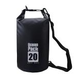 DZGOGO Portable Outdoor Waterproof Sport PVC Shoulder Strap Barrel Bag, Capacity: 20L (Black)