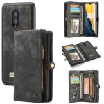 CaseMe-008 Detachable Multifunctional Horizontal Flip Leather Case for OnePlus 7, with Card Slot & Holder & Zipper Wallet & Photo Frame (Black)