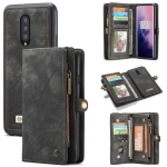 CaseMe-008 Detachable Multifunctional Horizontal Flip Leather Case for OnePlus 7 Pro, with Card Slot & Holder & Zipper Wallet & Photo Frame (Black)