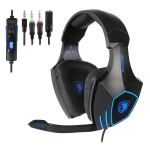 SADES SA-819 3.5mm Wired Adjustable Gaming Headphone with Retractable Microphone & 1 to 2 3.5mm Audio Cable, Speaker Diameter: 50mm, Impedance: 16ohms, Length: 1.5m