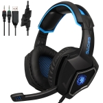 SADES WOLF SPIRIT 3.5 USB Wired Adjustable Gaming Headphone with Breathing Light & Hidden Microphone & 1 to 2 3.5mm Audio Cable, Length: 2m (Black Blue)