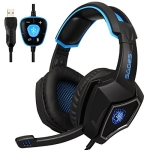 SADES WOLF SPIRIT 7.1 USB 7.1 Channel Wired Adjustable Gaming Headphone with Breathing Light & Hidden Microphone, Length: 2m (Black Blue)