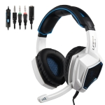 SADES LETTON L9 3.5mm Metal Woven Mesh Wired Adjustable Gaming Headphone with Hidden Microphone & 1 to 2 3.5mm Audio Cable, Length: 1.5m