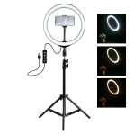 PULUZ 1.1m Tripod Mount + 10 inch LED Ring Vlogging Video Light  Live Broadcast Kits