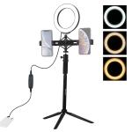 PULUZ Tripod Mount +  Extension Rod + Live Broadcast Dual Phone Bracket + 6.2 inch LED Ring Vlogging Video Light Kits