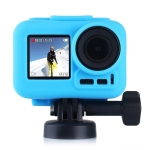 PULUZ Silicone Protective Case with Lens Cover for DJI Osmo Action with Frame(Blue)