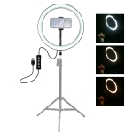 PULUZ 12 inch USB 3 Modes Dimmable LED Ring Vlogging Selfie Photography Video Lights with Cold Shoe Tripod Ball Head & Phone Clamp