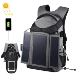 PULUZ 3-Fold 14W Solar Power Outdoor Portable Dual Shoulders Backpack Camera Bag with USB Port & Earphone Hole(Grey)