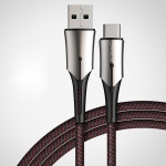 CAFELE 5A Type-C / USB-C Metal Pen Series Kirsite Charging Data Cable, Length: 1m (Black)