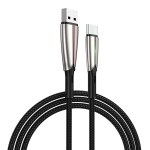 JOYROOM S-M399 Time Series 3A USB-C / Type-C Interface Charging + Transmission Nylon Braided Data Cable with Green Marquee, Cable Length: 1.5m (Black)
