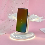 10W Smart Vertical Angel Wings Shape Mobile Phone Wireless Charger with Lighting Base