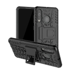 Shockproof  PC + TPU Tire Pattern Case for Galaxy A60, with Holder (Black)
