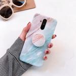 Glossy Marble Folding Bracket Anti-drop TPU Case for Huawei Mate 20 Lite(Z7)