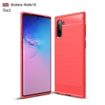 Brushed Texture Carbon Fiber TPU Case for Galaxy Note10(Red)