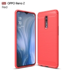 Brushed Texture Carbon Fiber TPU Case for OPPO Reno Z(Red)