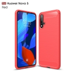 Brushed Texture Carbon Fiber TPU Case for Huawei Nova 5(Red)
