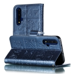 Elephant Embossing Pattern Horizontal Flip Leather Case for Huawei Honor 20 , with Holder & Card Slots & Wallet & Photo Frame & Lanyard(Dark Blue)